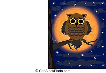 owl on a tree - owl sitting on a branch against the moon