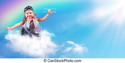 Full-Color Adventure - Child Flying On The Cloud With...