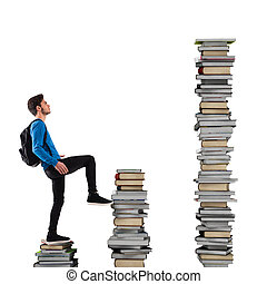 Escalation of knowledge - Boy with backpack climbs a books...