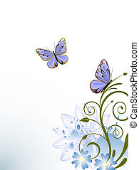 summer times - illustration of butterflies on an elegant...