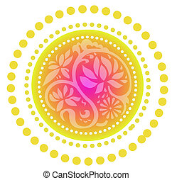 retro lotus pattern - lotus pattern on the red circle...
