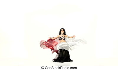 Beautiful exotic belly dancer girl with two wings and...