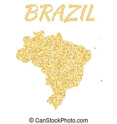 Map of Brazil in golden With gold yellow particles and dots...