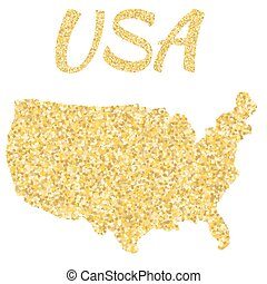 Map of USA in golden. With gold yellow particles and dots. Glitter background.