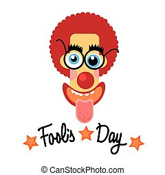 Fool Day Comic Crazy Clown Head April Holiday Greeting Card...
