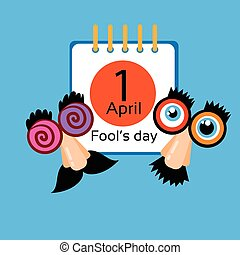 Fool Day Calendar Page April Holiday Greeting Card Banner...