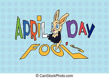 Fool Day Crazy Rabbit April Holiday Greeting Card Banner...