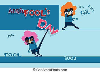 Fool Day April Holiday Greeting Card Banner Comic Crazy...
