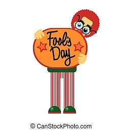 Fool Day Comic Clown Hold Banner April Holiday Greeting Card...