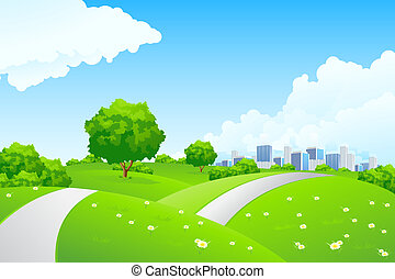 Landscape - green hills with tree and cityscape - Landscape...