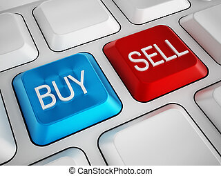 Buy and sell keys on white keyboard