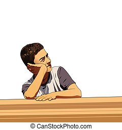 Thinking boy with white background