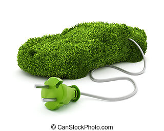 Green car covered with grass texture connected to the electric plug