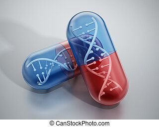 DNA helix inside pill capsules standing on reflective...