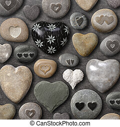 Heart shaped stones and rocks - Background of heart-shaped...