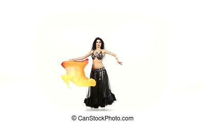 Talanted, slim belly dancer girl dance with long fans,...