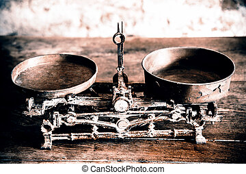 Old Antique weight measuring and kitchen goods weighing on...