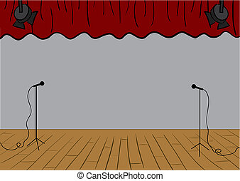 Theater stage - Vector theater stage with curtains up and...