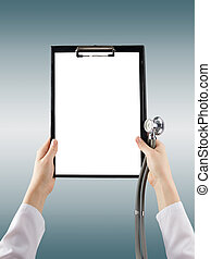 Female doctors hand holding medical clipboard with blank...