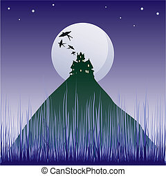 illustration with dark castle silhouette illuminated by moon...