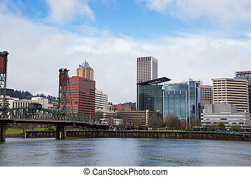 Downtown Portland Oregon City Skyline - City skyline of...