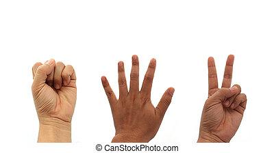 Hands making rock scissors paper