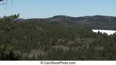 Panoramic view of the wilderness in winter in Algonquin...