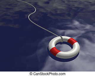 Life Preserver - Image of a life preserver floating on blue...