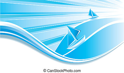 Sailing boats - Two little boats sailing, vector...