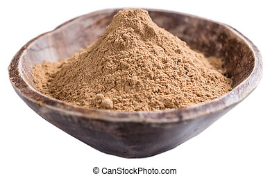 Galangal Powder isolated on white - Portion of Galangal...