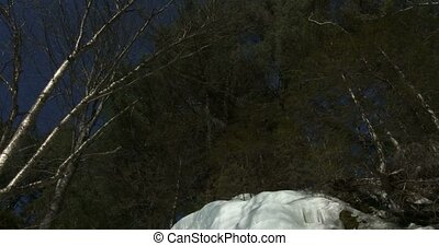 Small icefall in Algonquin Park - Small icefall on frozen...