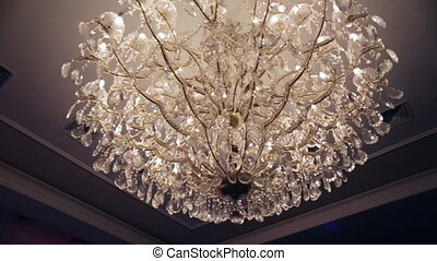 Beautiful retro luxury crystal strass chandelier isolated on...