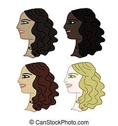 Set of four faces - Set of four woman faces