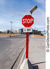 Solar Powered 3-Way Traffic Stop Sign - Three-way...