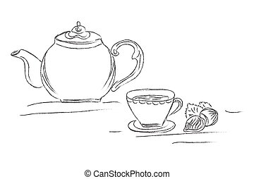 sketch cup, tea concept, sketch, doodle, vector illustration...