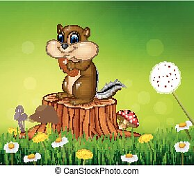 Happy little chipmunk holding nut - Vector illustration of...