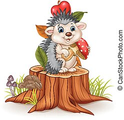 Little hedgehog holding mushroom - Vector illustration of...