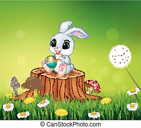 Cartoon Easter Bunny painting egg
