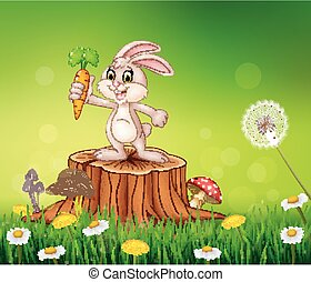 Cute bunny holding carrot on tree s