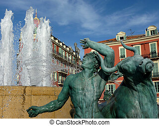 Fountain at Nice, France - Sculpture of a man and a bull at...