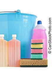 detergent bottles bucket and sponges