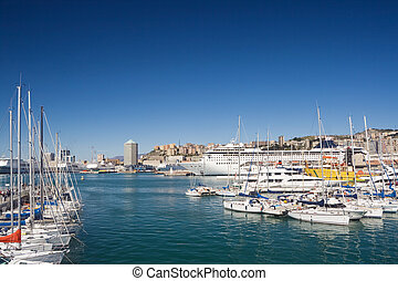 Genova, the marina - seafront of Genoa from the marina in a...