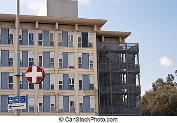 hospital exterior - exterior of a modern hospital complex...