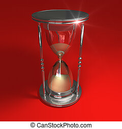 Hourglass on red