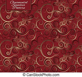 Seamless pattern with curls. Red background