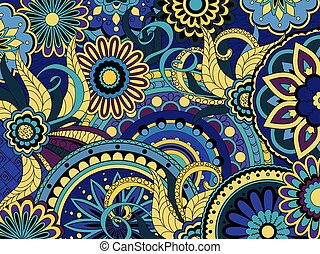 colorful floral background in boho style - Hand drawn doodle...