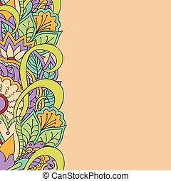template for card with floral frame - Hand drawn doodle...