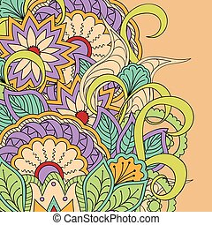 colorful floral background - Hand drawn doodle colorful...