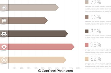 Bar Graph - Horizontal bar graph template with icons,...