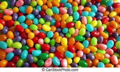 Pile Of Jelly Beans Rotating - Closeup of bright...